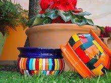 Mi foto Clay Flower Pots, Flower Pot Crafts, Clay Pot Crafts, Painted Clay Pots, Painted Flower Pots, Ceramic Pots, Dot Painting, Craft Fairs, Garden Pots
