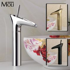 56.25$  Buy now - http://ali081.worldwells.pw/go.php?t=32389369462 - Bathroom tall washbasin faucet chrome antique brass and oil rubbed bronze faucets waterfall sink tap torneira banheiro 56.25$