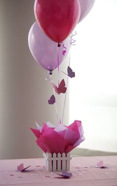 Can use item to hold balloons not just baskets *** Butterfly Party Centerpieces, Butterfly Birthday Decorations, Butterfly Baby Shower Butterfly 1st Birthday, Butterfly Baby Shower, Balloon Birthday, Balloon Party, Pink Birthday, 80th Birthday, Birthday Party Decorations, 1st Birthday Parties, Birthday Table