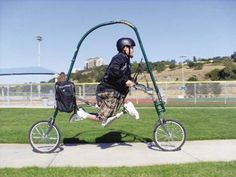 The GlideCycle can be powered with just one leg, or even two disabled legs. It was developed in Oregon and is great for those who are overweight, disabled, amputees, and even non-disabled people. It's basically a large U with wheels and a seat that lets anyone exercise outdoors.