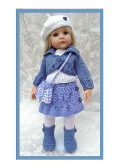 HAND KNIT DENIM OUTFIT TO FIT  AMERICAN GIRL , GOTZ ,DESIGNA FRIEND 18inch DOLL
