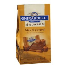 Delicious buttery caramel surrounded by creamy milk chocolate. Individually wrapped Ghirardelli Milk Chocolate Caramel Squares come in a ounce bag. Candy Recipes, Gourmet Recipes, Snack Recipes, Snacks, Ghirardelli Chocolate Squares, Chocolates, Caramel Flavoring, Icecream Bar, New Flavour