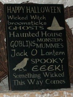 Happy Halloween Subway Typography Style Art Sign- Primitive Country Painted Wall Sign,Fall Decor, Halloween Sign,Fall Decor