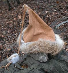 Leather and fur hat