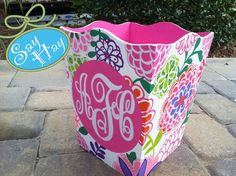 Hand-painted Monogram Wastebasket inspired by Lilly Pulitzer or other print. $60.00, via Etsy.