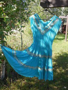 Vintage Swing Dance Dress Mexican Swirl in by LotsaVintage on Etsy, $125.00