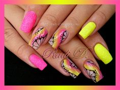 Magenta- yellow neons by RadiD - Nail Art Gallery nailartgallery.nailsmag.com by Nails Magazine www.nailsmag.com #nailart