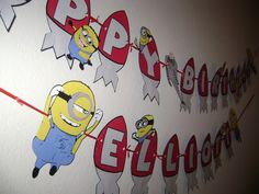 Despicable Me Minion Birthday Banner by SnugglyBuggs on Etsy, $30.00