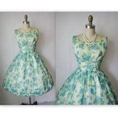 Image result for 1950s  women blue floral dress