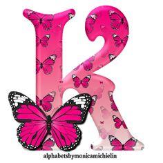 Alphabets by Monica Michielin: ALFABETO BORBOLETA ROSA, PINK BUTTERFLY ALPHABET Alphabet Letters Design, Animal Alphabet, Monogram Letters, Letters And Numbers, Butterfly Party, Pink Butterfly, Butterflies, Alphabet Wallpaper, Love Quotes Wallpaper