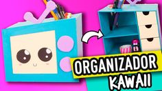 Organizador Kawaii de Cartón Para Escritorio | Manualidades con Cartón |...