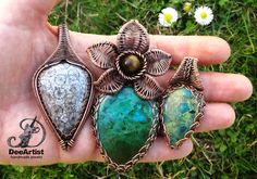 Greetings from Serbia, Europe :) Copper wire wrapped & woven Coral Fossil and Chrysocolla pendants by DeeArtist. Smaller Chrysocolla bail motif = Perri's chain weave (Shaktipaj Designs).