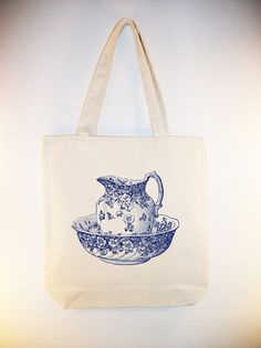 Vintage China Bowl and Pitcher Illustration Tote by Whimsybags, $12.00