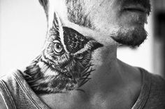 Owl neck tattoo designs for men