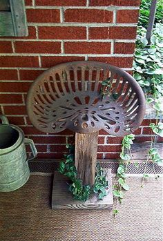 Antique Tractor Seat repurposed as a porch seat. Love this idea! I've seen a ton of tractor seats in the past & wondered what I could do with that! Repurposed Items, Repurposed Furniture, Diy Furniture, Western Furniture, Western Decor, Country Decor, Rustic Decor, Outdoor Projects, Wood Projects