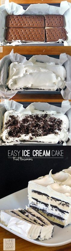 Easy Ice Cream Sandwich Cake ~ A chocolate and whipped cream dessert that only takes about 10 minutes to assemble! It is the easiest cake you'll ever make! | easy summer dessert recipe