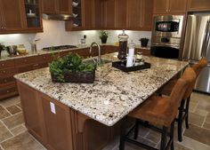 Luxury granite kitchen island with dining surface