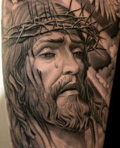 Praise be to God Christian Tattoos, Christian Art, Religious Tattoos, Religious Art, Grey Tattoo, Big Tattoo, Skull Tattoo Design, Tattoo Designs, Jesus Tatoo