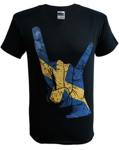 Mens Horns Hand Sweden T-Shirt (Black). Sizes Small - 5XL. Buy now from SCM Facebook store.  http://stainedclassmerchandise.aradium.com/5scdw