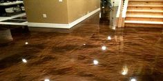 Metallic epoxy system kit done in basement using americana and sandal metallic iron oxide. Want your garage or home to have a showroom shine? See the epoxy experts at epoxy tech floor coating kit systems and get the epoxy +tech … Readmore Concrete Basement Floors, Best Flooring For Basement, Best Vinyl Flooring, Metallic Epoxy Floor, Metallic Paint, Painting Tile Floors, Tile Flooring, Epoxy Coating, Stained Concrete