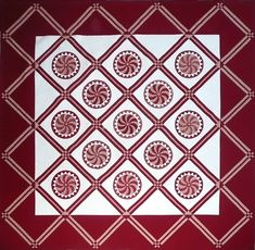 Machine Quilting Designs, Quilting Projects, Quilting Ideas, Quilt Border, Quilt Top, Two Color Quilts, Red And White Quilts, Hand Applique, Free Motion Quilting