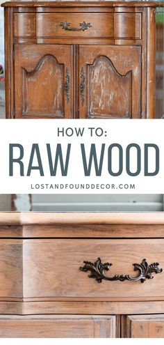 Dark wood is out, the raw wood look is in! This tutorial will show you how to get that look on your furniture makeovers.  #rawwoodfinish #rawwoodfurniture #furnituremakeover Cheap Furniture Makeover, Diy Furniture Renovation, Diy Furniture Projects, Diy Projects, Diy Furniture Flip, Furniture Design, Furniture Decor, Woodworking Projects, Raw Wood Furniture