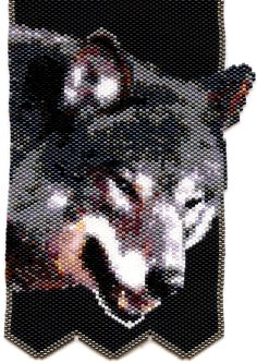 beaded wolf | Wolf Small Beaded Tapestry in Peyote