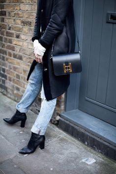 Coat: framboise fashion, blogger, black shoulder bag, leather bag, ripped jeans - Wheretoget