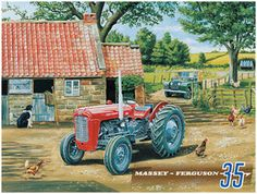 Classic Tractor, Massey Ferguson 35 Land Rover on Farm, Small Metal/Tin Sign | eBay
