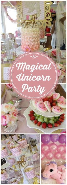 You must see this beautiful pink and gold magical unicorn party! See more party ideas at CatchMyParty.com!