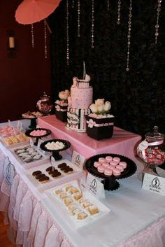 Stunning dessert table at a pink Paris party!  See more party ideas at CatchMyParty.com!