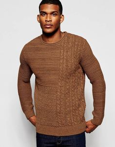 River+Island+Cable+Knit+Jumper+With+Crew+Neck+In+Brown