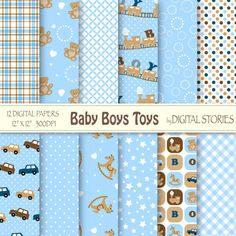 "Baby Boy Digital Paper: ""BABY BOYS TOYS"" Light Blue Brown with train, car, bear, horse for scrapbooking, invites, cards - Buy 2 Get 1 Free"