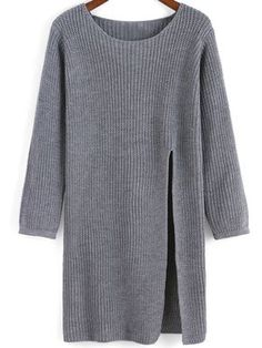 SheIn offers Grey Round Neck Split Knit Sweater & more to fit your fashionable needs. Diy Pullover, Chaleco Casual, Look Fashion, Womens Fashion, Cooler Look, Long Sweaters, Knitting Sweaters, Grey Sweater, Knitwear