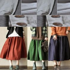 Vintage green big pockets linen skirts high quality stylish loose fitting skirt
