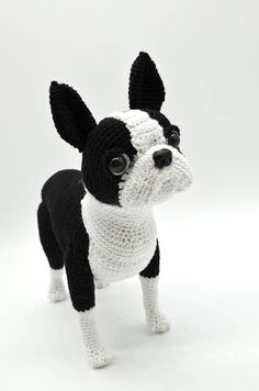 This listing is for a Crochet Pattern only NOT a finished item. Language: ENGLISH The Pattern is for intermediate/advanced level in crocheting. Boston Terrier is approx. 20cm. tall and 20 cm. long. The pattern provide detailed step-by-step instruction and is in standard American Terminology