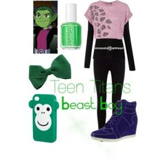 Designer Clothes, Shoes & Bags for Women Teen Titans Go Costume, Teen Titans Outfits, Riverdale Fashion, Beast Boy, Fandom Fashion, Fandom Outfits, Casual Cosplay, Character Outfits, Disney Outfits