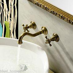 Waterfall Wall Mount Bathroom Basin Mixer TAP Antique Brass Finish Free Shipping | eBay