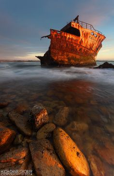 The wreck of the Meisho Maru 38 which ran aground between Suiderstrand and Cape Agulhas on 16 November Situated in the Cape Agulhas National Park - South Africa Boat, Explore, Creative, Water, Photography, Outdoor, Colombia, Renaissance, Gripe Water