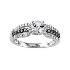 Lab-Created White Sapphire & 1/3 Carat T.W. Black & White Diamond 10k White Gold Engagement Ring