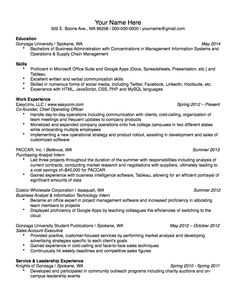 sample resumes for university students