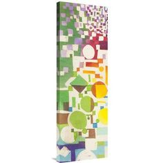 "East Urban Home 'Multicolor Pattern II' Oil Painting Print Format: Unframed/Canvas, Matte Color: No Matte, Size: 36"" H x 12"" W"