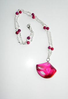 Pink Sardonyx Agate Fan Pendant Necklace
