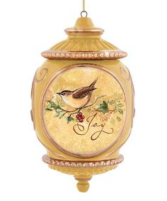 Look at this #zulilyfind! Gold Bird 'Joy' Ornament #zulilyfinds