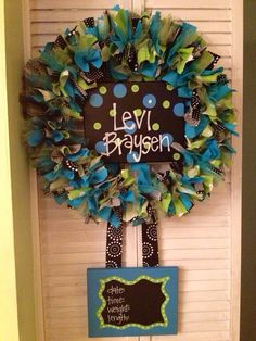 Custom Boutique Baby Wreaths, Birth Announcements, and Hospital Door Hangers via Etsy