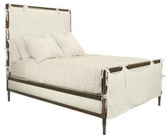 King Chandler bed in french gray finish with ribbon trim...looks messy but so comfy at the same time