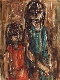 Ruth Schloss b.1922 (Israeli) Two girls oil on mas - by Matsart Auctioneers & Appraisers