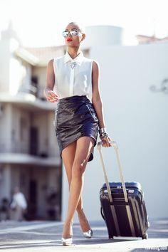 Leather skirt, white shirt, Rayban Sunglasses  travel bag #rayban #ray_ban #rayban_sunglasses ray ban sunglasses , ray ban outlet