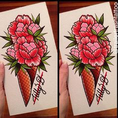"""""""Ice cream flower cone by @tillydee available for tattoo email us to snap it up !! trailertrashtattoo@hotmail.com 0732167539 !!"""""""