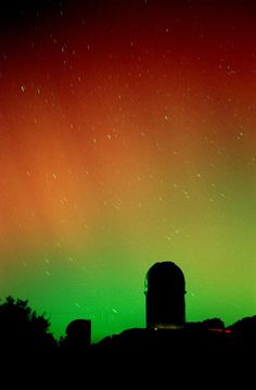 Arizona Aurora as seen from Kitt Peak, March 28, 2001. This particular aurora was probably associated with a coronal mass ejection--it's very rare to see an aurora of this magnitude in Arizona. Image credit: Adam Block.